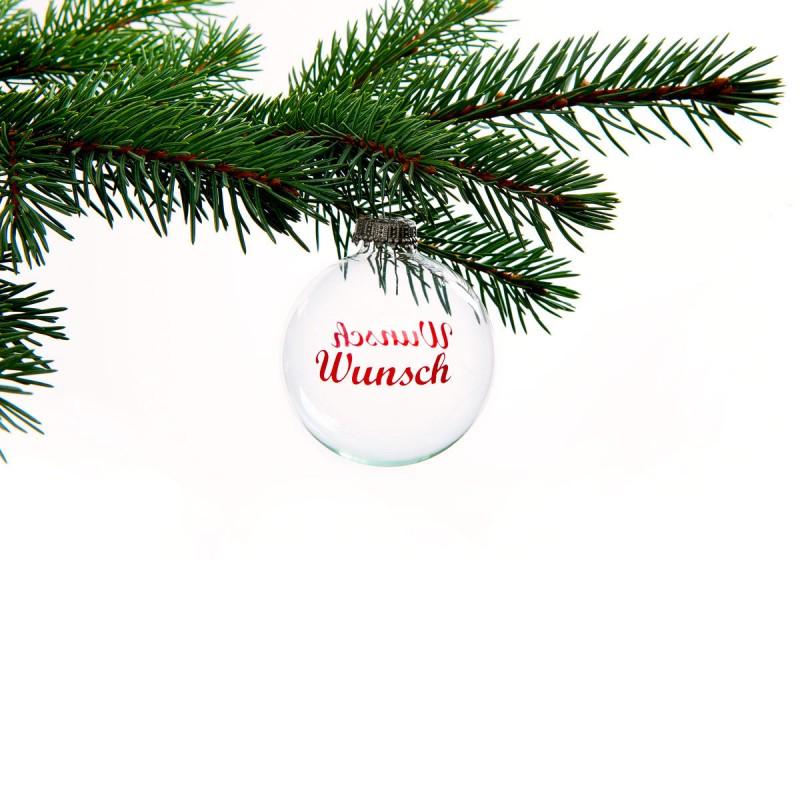 Christ-Baumkugel Wunsch hängend an einem Tannenzweig – corpus delicti – corpus delicti design Hamburg – Wir machen Geschenke