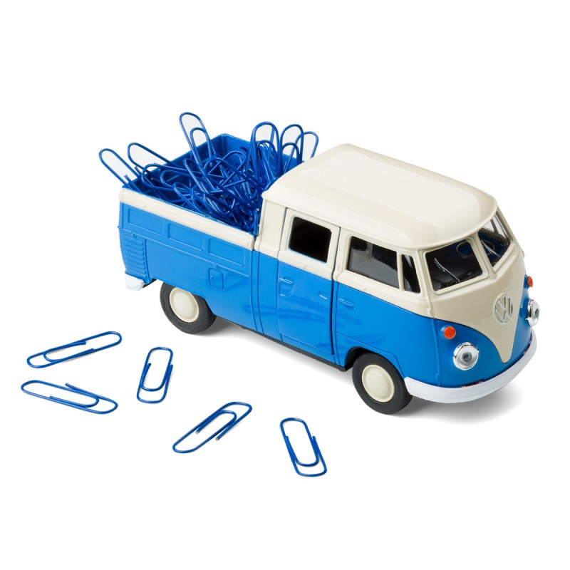 Mobile Office Büroklammerspender VW Bus rot mit offener Tür auf dem Tisch – corpus delicti design Hamburg – Wir machen Geschenke