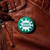 Coronabesieger – Ansteckbutton an Lederjacke – corpus delicti design Hamburg – Wir machen Geschenke