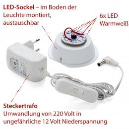 LED-Stecker-Trafo, Kabel, Schalter + Sockel