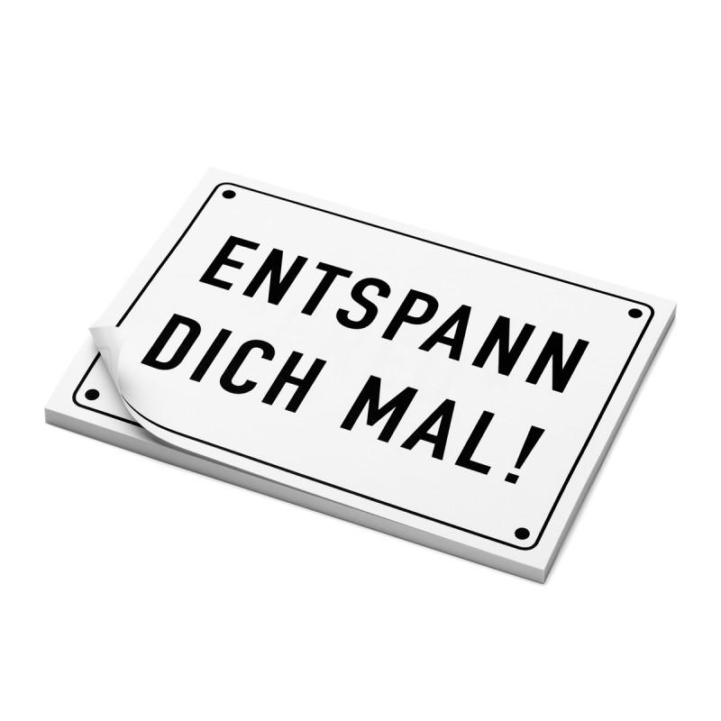Haftnotizen SCHEISSE GELAUNT Post it Motiv ENTSPANN DICH MAL! auf dem Tisch – corpus delicti design Hamburg – Wir machen Geschenke
