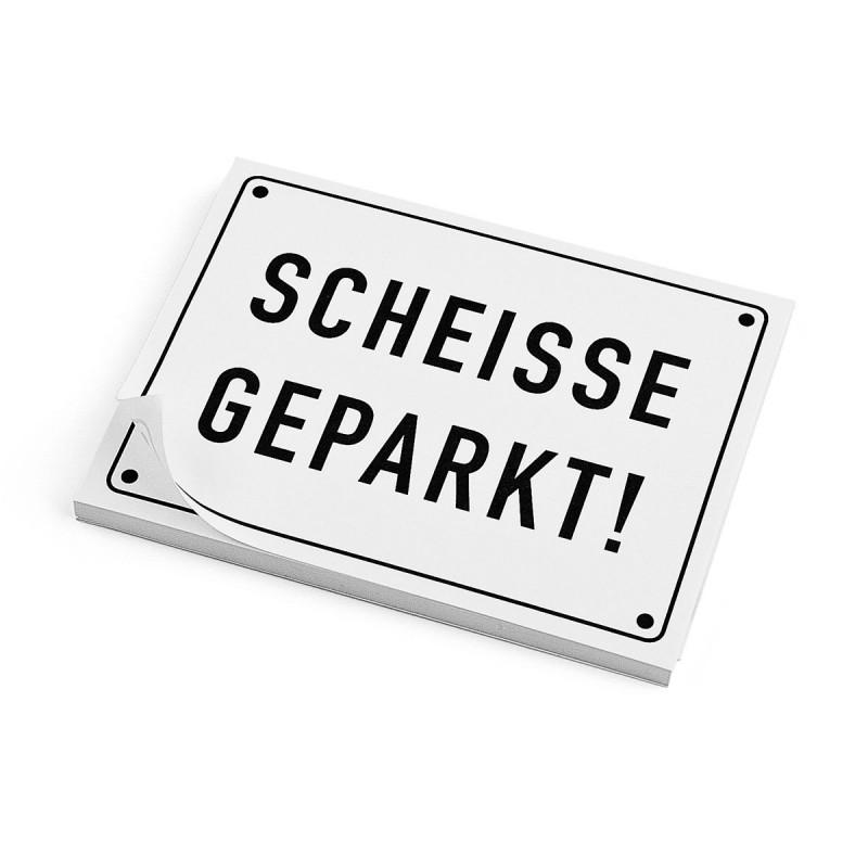 Haftnotizen SCHEISSE GEPARKT Post it – corpus delicti design Hamburg – Wir machen Geschenke