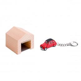 Garage mit Schlüsselanhänger– Citroën2CV rot