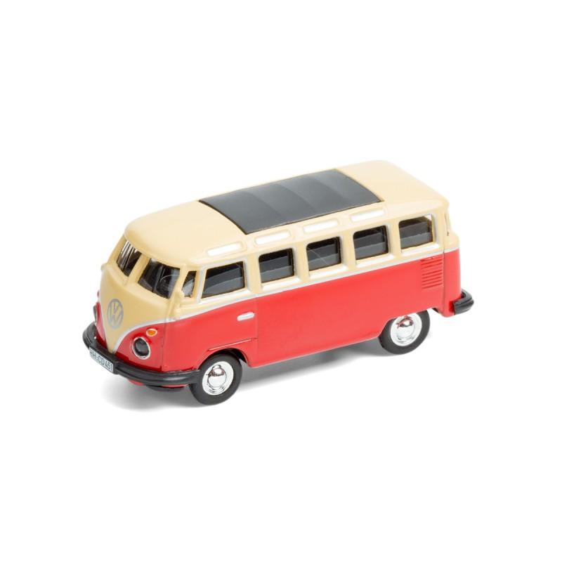 Magnet Volkswagen VW Bus Samba T1 Bulli rot Ansicht schräg von vorn – corpus delicti design Hamburg – Wir machen Geschenke