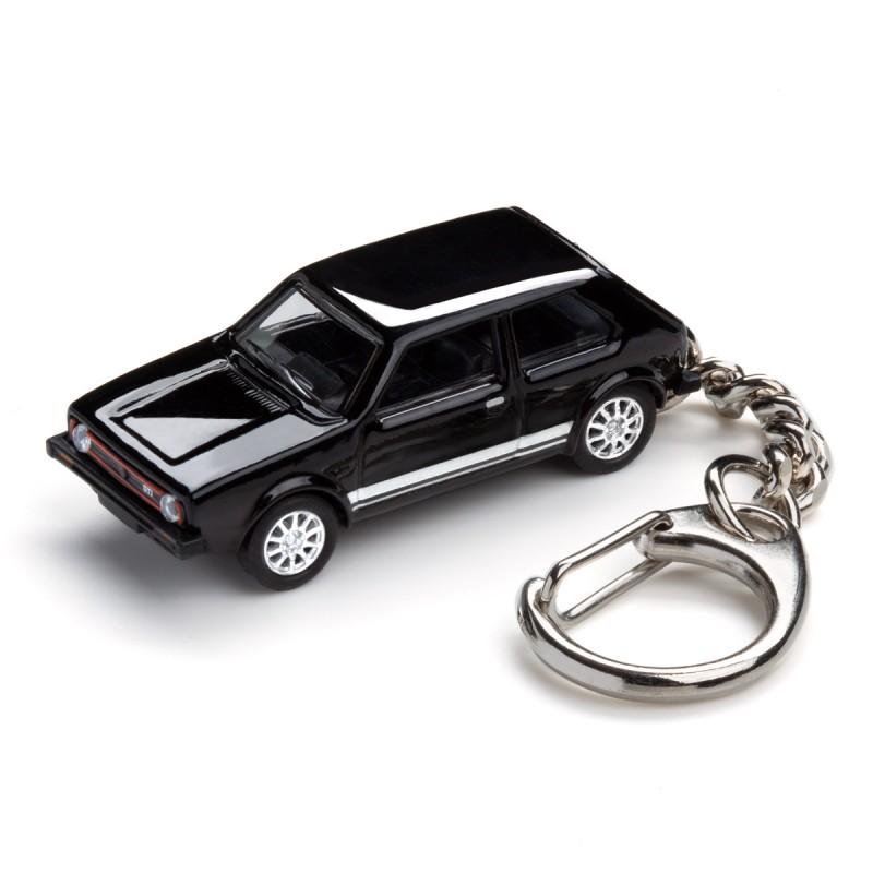 Schlüsselanhänger - VW Golf GTI I schwarz auf dem Tisch Ansicht von vorn – corpus delicti design Hamburg – Wir machen Geschenke