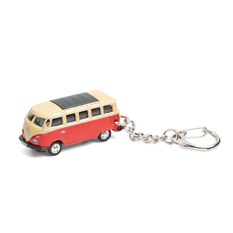 Schlüsselanhänger - VW Bus T1 Samba Bulli rot auf dem Tisch Ansicht von vorn – corpus delicti design Hamburg – Wir machen Geschenke