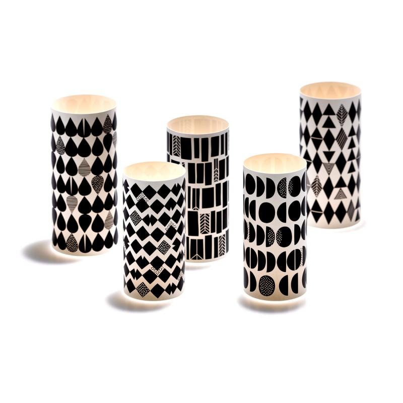 Lichthüllen Black & White Windlicht alle fünf Motive im Tageslicht – corpus delicti design Hamburg – Wir machen Geschenke