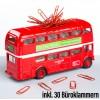 London Bus – Büroklammerspender Roadmaster mit Anzahl Büroklammern auf dem Tisch – corpus delicti design Hamburg