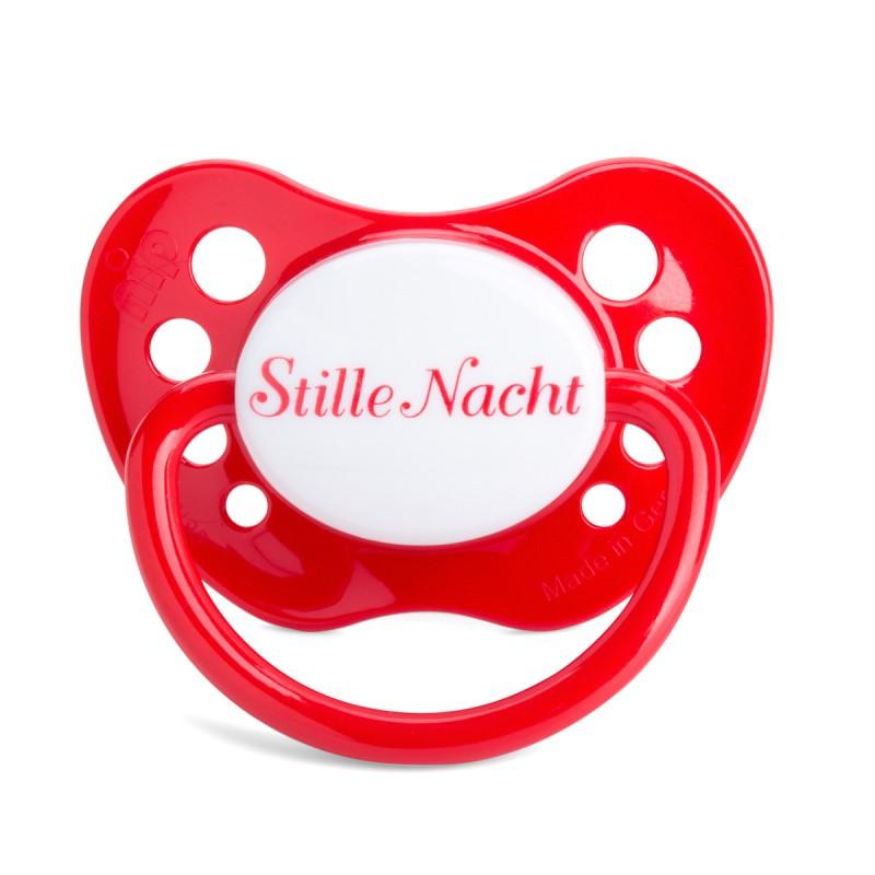 Schnuller Stille Nacht, der Beruhigungssauger mit Hygienekappe in der Frontalansicht – corpus delicti design Hamburg – Wir machen Geschenke