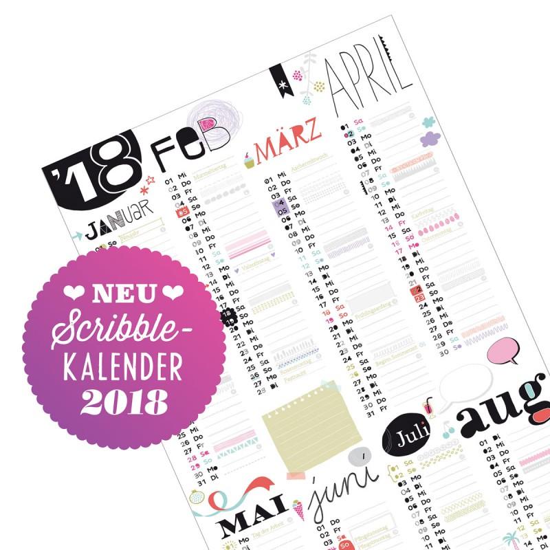 Scribble Wandkalender 2018 mit Badge – corpus delicti design Hamburg – Wir machen Geschenke