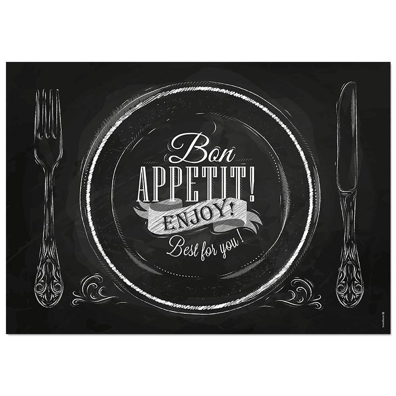Papier-Tischsets – praktische Platzsets als Abreißblock – Bon Appetit Enjoy – corpus delicti design Hamburg – Wir machen Geschenke