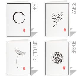 Trauerkarten/Kondolenzkarten STEMPEL (4er Set)