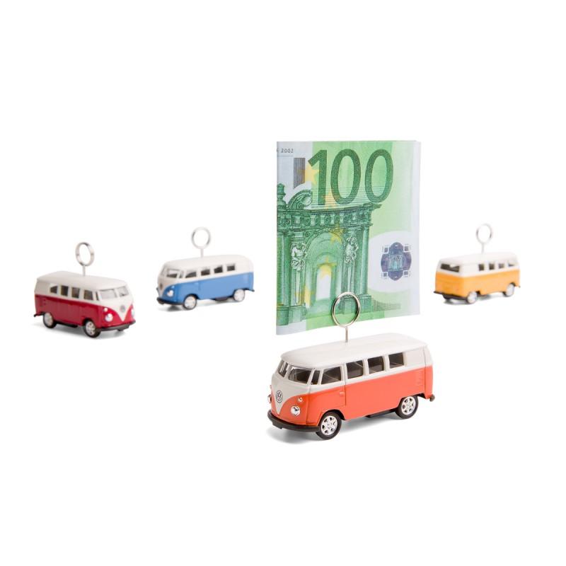 Kartenhalter und Geldgeschenk auf Rädern Volkswagen VW Bus T1 Bulli alle Farben orange mit Geldschein – corpus delicti design Hamburg – Wir machen Geschenke